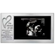 MIRACLE of LIFE - Baby's First Photo Frame - SONOGRAM/Ultrasound Picture/SATIN Silver STEEL 20cm X 10cm with VERSE/Gift/Treasure KEEPSAKE for NEW MOM/Infant