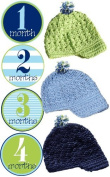 Mumsy Goose Baby Boy Monthly Stickers and 3 Newsboy Beanie Hats 1-12 Months