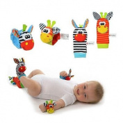 4pcs Sozzy Baby Infant Soft Toy Wrist Rattles Foots Finders Developmental