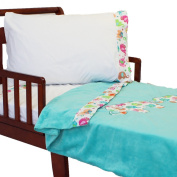 4pc RoomCraft Elephant Parade Toddler Bedding Set Embroidered Applique Jungle Animal Family Blanket and Sheet Set