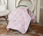 Carseat Canopy (Angelina) Baby Infant Car Seat Cover w/Attachment Straps and Minky Fabric