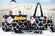 SoHo Collection, Black Giraffe 7 pieces Nappy Bag set *Limited time offer !*