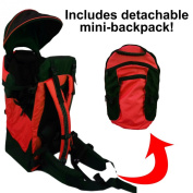 Deluxe Red Baby Back Pack Cross Country Carrier Stand Child Kid Sun Shade Visor