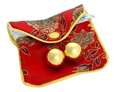 Small Golden Stainless Steel Kegel Ben Wa Balls with Passion Lubricant and Pouch