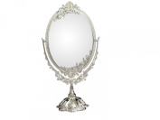 KINGFOM™ Silver Two Sided Swivel Oval Desktop Vanity Makeup Mirror with Embossed Roses and Mounted Beads for Home, Jewellery or Watches Cosmetics Showcase