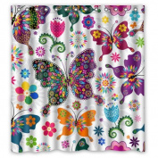 Fashionable Bathroom Collection-Custom Waterproof Seamless Spring Pattern Colourful Butterflies Shower Curtain (170cm x 180cm ) With 12 holes-309