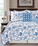 Serenta Printed Paisley Flower 4 Piece Reversible Quilted Coverlet Set, Queen, Blue