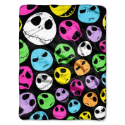 "Disney ""Nightmare Before Christmas, Glow Skulls"" Micro Raschel Throw, 120cm by 150cm"