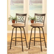 Legacy Decor Scroll Design Counter Height Adjustable Swivel Bar Stools 60cm - 70cm , Set of 2