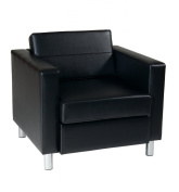 AVE SIX Pacific Vinyl Arm Chair with Spring Seats and Silver Metal Legs, Black