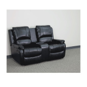 Allure Series 2-Seat Reclining Pillow Back Black Leather Theatre Seating Unit with Cup Holders