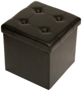 The FHE Group Tufted Folding Storage Ottoman, 15 by 38cm by 38cm , Black Faux Leather