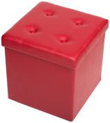 The FHE Group Tufted Folding Storage Ottoman, 15 by 38cm by 38cm , Red Faux Leather