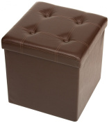 The FHE Group Tufted Folding Storage Ottoman, 15 by 38cm by 38cm , Brown Faux Leather