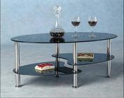 Hodedah Three Tier Oval Tempered Glass Coffee Table, Black