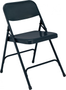 National Public Seating 200 Series All Steel Premium Folding Chair with Double Brace, 220kg Capacity, Char-Blue