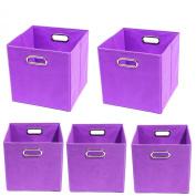 Modern Littles Colour Pop Organisation Bundle-5 Storage Bins, Purple