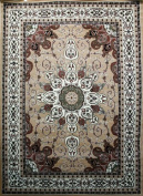 Oriental Traditional Isfahan Persian Area Rugs Beige Brown 1.2m Round
