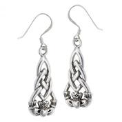 .925 Sterling Silver Heart Hands Crown Irish Claddagh Earrings