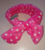 SOFT STRETCH HEADBAND IN PINK WITH WHITE SPOTS AND LARGE BOW