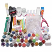 KINGSO 42 Acrylic Powder Brush Glitter Clipper File Nail Set