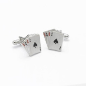 Onyx Art Metallic four Ace cards Design Cufflinks in Gift box plus FREE Premier Life pen - CK131