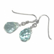 GOLDMAJOR Sterling Silver and Aquamarine Glass Facetted Drop Earrings of 2.75cm