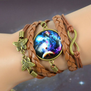 Multilayer Braided Galaxy Cabochon Infinity Charms Wristband Cuff Leather Bracelet BR23