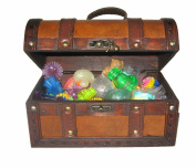 leather treasure chest full of toys
