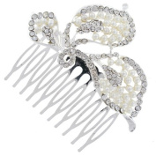 Triple Leaf Floral Studded Ivory Pearl Bridal Hair Comb Clip