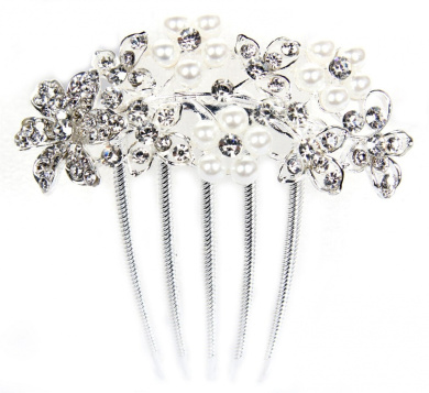 FreshGadgetz Slide Spiral Hair Comb Silver, Crystal & Pearl Flower Comb Wedding Bridal Hair Accessory