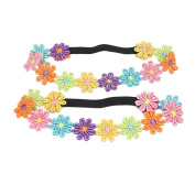 Sweet 2pcs Baby Girl Toddler Colourful Flower Hairbands Headband Hair Accessories