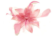 Flower Pink Fabric and Feather Fascinator On Comb