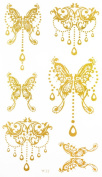 "Latest hot selling and fashionable tattoo sticker product dimension 17cm ""x 3.190cm jewellery butterfiles Golden gold realistic temporary tattoo stickers"