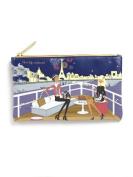 """Filosofille Make-Up Pouch with Lining with """"New Year's Eve Dinner on the Seine"""" Theme"""