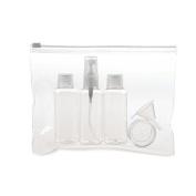 Travel Bottles & Case Flight Set - Holiday Cosmetic Wash Bag Bottle Hand Luggage