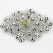 Elixir77UK NEW 8.1cm LARGE SILVER COLOUR FLOWER BROOCH with PLAIN and AB DIAMANTE RHINESTONE CRYSTALS BRIDAL BROACH