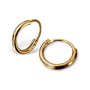 Extra Small (Tiny) 8mm Sterling Silver Hoop Earrings with 18ct Gold Plating