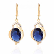 YAZILIND Charming Smooth Alloy Inlay Oval Sea Blue Cubic Zirconia Dangle Drop Earrings for Women