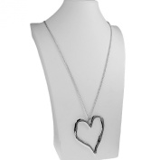Ladies silver plated 90 cm long curb chain very large heart dangling pendant fashion jewellery necklace