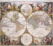A3 Print - Antique Map of The World - Petro Plancio - 1594
