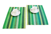 Set of 4 Growing Green Strip Placemats Woven Place Mats