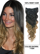 Lovebeauty18-70cm Clip In Hair Wave Ombre Colour Dip Dye 1B/6(natural black to light brown)9PCS 100G