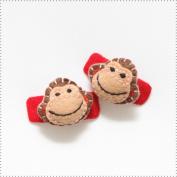 Best of Chums Baby Hair Accessories - Monkey Plush Felt Hair Clip