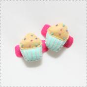 Best of Chums Baby Hair Accessories - Cupcake Plush Felt Hair Clip