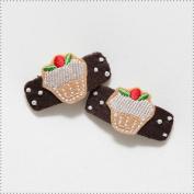 Best of Chums Baby Hair Accessories - Cupcake Felt Applique Hair Clip