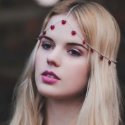 Nero Lady's Grace Head Chain with Ruby, Tri Silver Chain for Hair Decoration