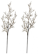 70cm Artificial Natural Tan Twig Wired Sprays with Textured Finish - Set of 2