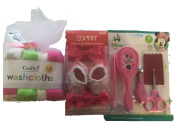 Baby Girl Minnie Mouse Bath Gift Set with Towels and Grooming Kit