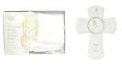 Bundle of 2 Roman Baby Items - 18cm Precious Moments Baptism Wall Cross and Christening Bonnet / Wedding Hankie